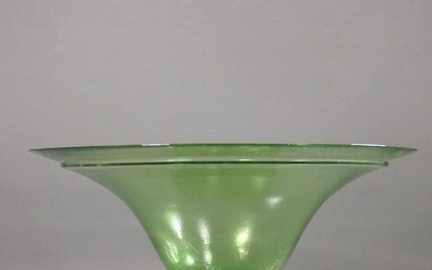 Green Iridescent Stretch Glass Pedestal Base Compote