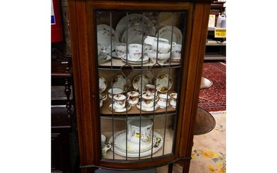 INLAID MAHOG. DISPLAY CABINET WITH LEADED GLASS 145cm high,...