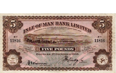 Isle of Man 5 Pounds dated 1st December 1936, signed J.R. Qu...