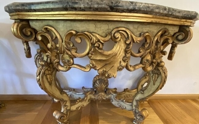 Italian Hand Carved Gilded Marble Top Console