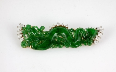 Jadeite, Gold and Diamond Dragon Brooch