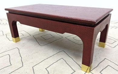KARL SPRINGER Style Woven Covered Coffee Cocktail Table