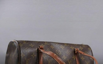 LOUIS VUITTON Leather Cylindrical Hand Bag Classic Mono