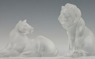 Lalique Crystal Lion and Lioness