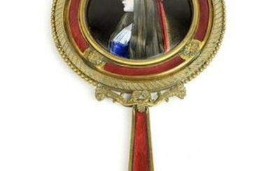 Large 19th C. French Enamel & Bronze Mirror Signed