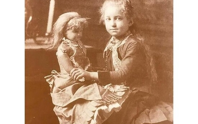 Little Girl With Doll Sepia Tone Photo Print