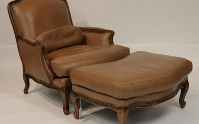 Louis XV Style Chateau D'Ax Chair and Ottoman