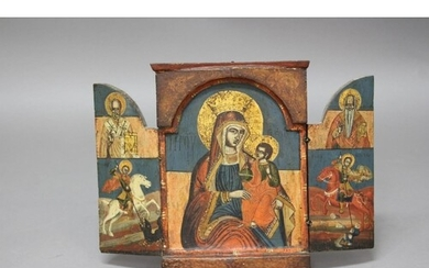MACEDONIAN OR GREEK TRIPTYCH ICON, 17th or 18th century, dep...