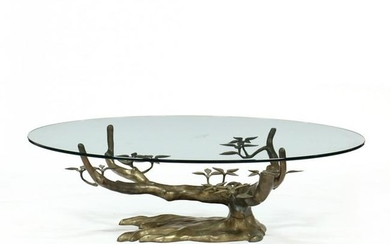 Mid-Century Brass and Glass Tree-Form Coffee Table
