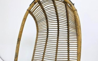 Mid Century Modern Hanging Rattan Chair. Hangs from rop