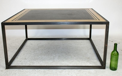 Modern marble coffee table on iron base