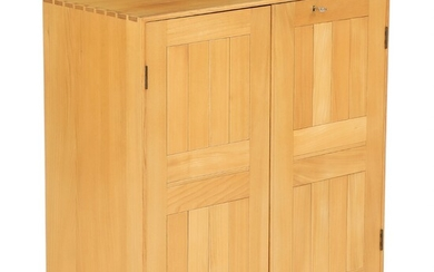 Mogens Koch: Cabinet of solid elm. Made and marked by Rud. Rasmussen Cabinetmakers. H./W. 76...