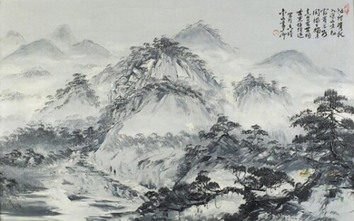 Mountain river landscape, Chinese school oil on canvas with ...