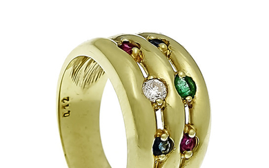 Multicolor ring GG 585/000 with a round faceted...