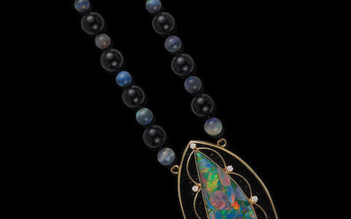 Opal Mosaic Doublet, Onyx and Diamond Pendant with Black Opal and Onyx Beads