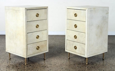 PAIR 4-DRAWER PARCHMENT COVERED END TABLES C.1960