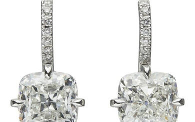 PAIR OF PLATINUM AND DIAMOND EARRINGS Accompanied by a GIA report numbered 2316584476, dated 11 January 2019, stating that the 4.01...