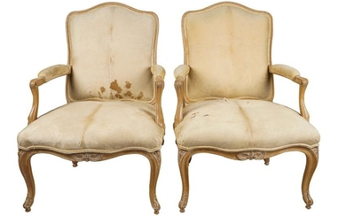 PAIR OF PROVINCIAL STYLE HIDE-UPHOLSTERED ARMCHAIRS