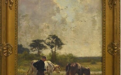 "Painting ""Boy and cows drinking"" signed S.van Damme..."