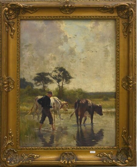 """Painting """"Boy and cows drinking"""" signed S.van Damme (65x50cm)"""