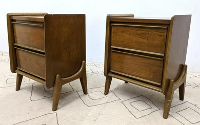 Pair American Modern Walnut Side End Tables. Night Sta