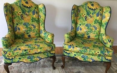 Pair Custom Upholstered Wing Back Arm Chairs