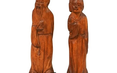 Pair Of Chinese Wood Figures