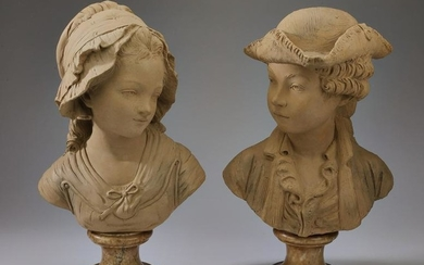 Pair of 19th c. French terracotta busts