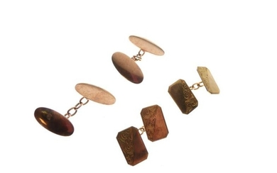 Pair of 9ct rose gold oval cufflinks, together with...