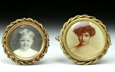 Pair of Early 20th C. Antique Brass Pins w/ Photographs