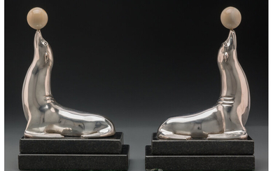 Pair of French Silver-Plated Bronze Seal Bookends with Marble Balls (circa 1930)