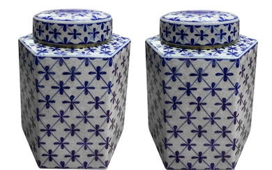 Pair of poutiche porcelain, hexagonal with a blue