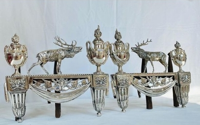 Pair of silver-plated bronze WOODS surmounted by 2...