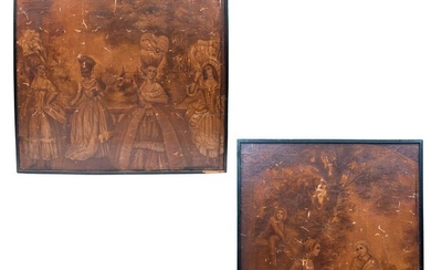 Pair of panels. European origin, 20th century. Anonymous. Gallant scenes. Prints on canvas on wood. Pieces: 2