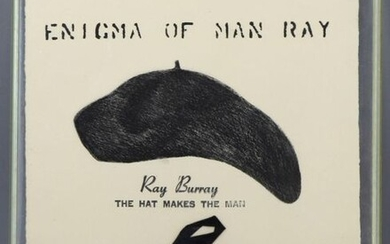 """Paul HEWITT (Xxth) """"Enigma of Man Ray"""", engraving tribute to Man Ray enhanced with a black ribbon, signed in pencil lower right, 32,5 x 25 cm, presented under plexi glass frame."""