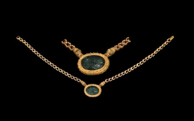 Persian Gold Pendant Necklace / Carved Aquamarine