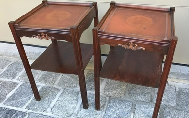Pr English George III Style Leather Top End Tables