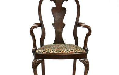 Queen Anne Style Carved Mahogany Armchair