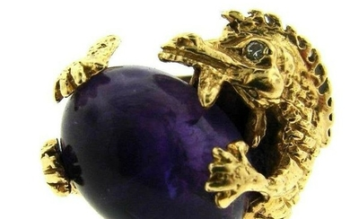 REGAL 14k Yellow Gold, Amethyst & Diamond Dragon Ring