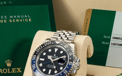 ROLEX. A STAINLESS STEEL AUTOMATIC DUAL TIME WRISTWATCH WITH SWEEP CENTRE SECONDS, DATE AND BRACELET, SIGNED ROLEX, OYSTER PERPETUAL, GMT-MASTER II MODEL, REF. 126710BLNR, CASE NO. 26N651J4, CIRCA 2019