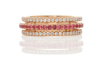 Red Spinel and Diamond Stacked Band