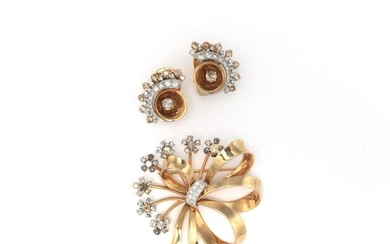 Retro Gold, Colored Diamond and Diamond Bow Brooch and Pair of Earclips