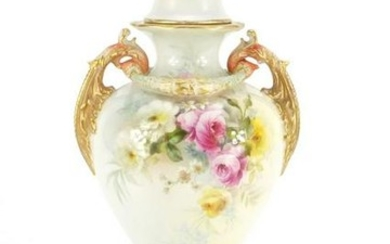 Royal Worcester vase and cover with twin handles by