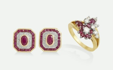 Ruby and diamond ear clips with ring