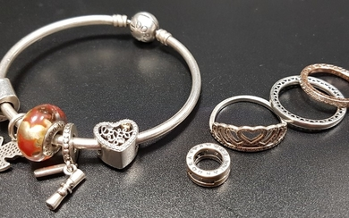 SELECTION OF SILVER PANDORA JEWELLERY comprising a Moments s...