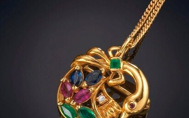 SWAN PENDANT WITH A BODY OF COLOURED STONES. Frame in 18k yellow gold. Price: 200,00 Euros. (33.277 Ptas.)
