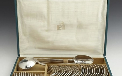 Set of Thirty-Eight Pieces of Silver Plated Flatware