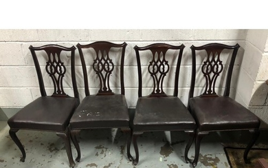 Set of six mahogany dining chairs including two carvers, mar...