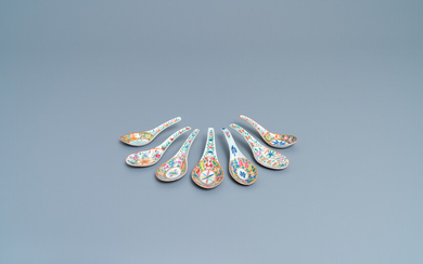 Seven Chinese Canton famille rose spoons for the Thai market, 19th C.
