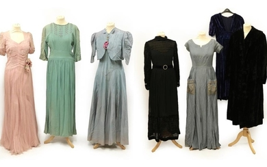 Seven Items of Circa 1930's-1940's Ladies' Evening Wear, comprising a...
